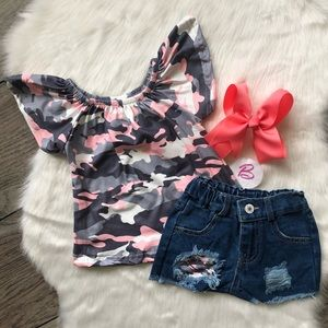 Other - Girl Boutique Camo Denim Outfit Set
